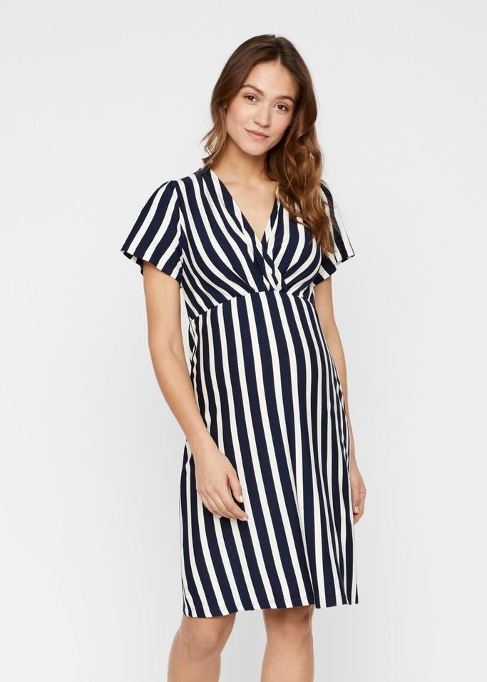 navy and white stripes maternity dress