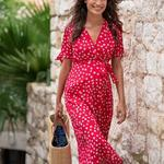 Séraphine redfloral maternity dress