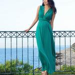 Séraphine long green formal dress
